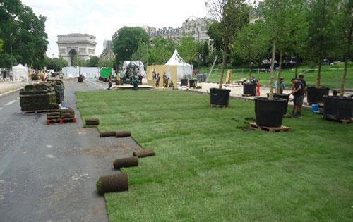 Paris, engazonnement de l' Avenue Foch pour l'évènement BiodiversiTerre 2017