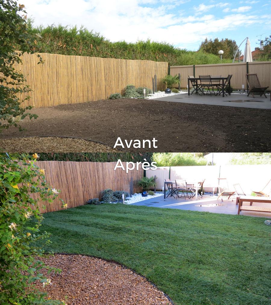Gazon et pelouse en rouleau avant-après